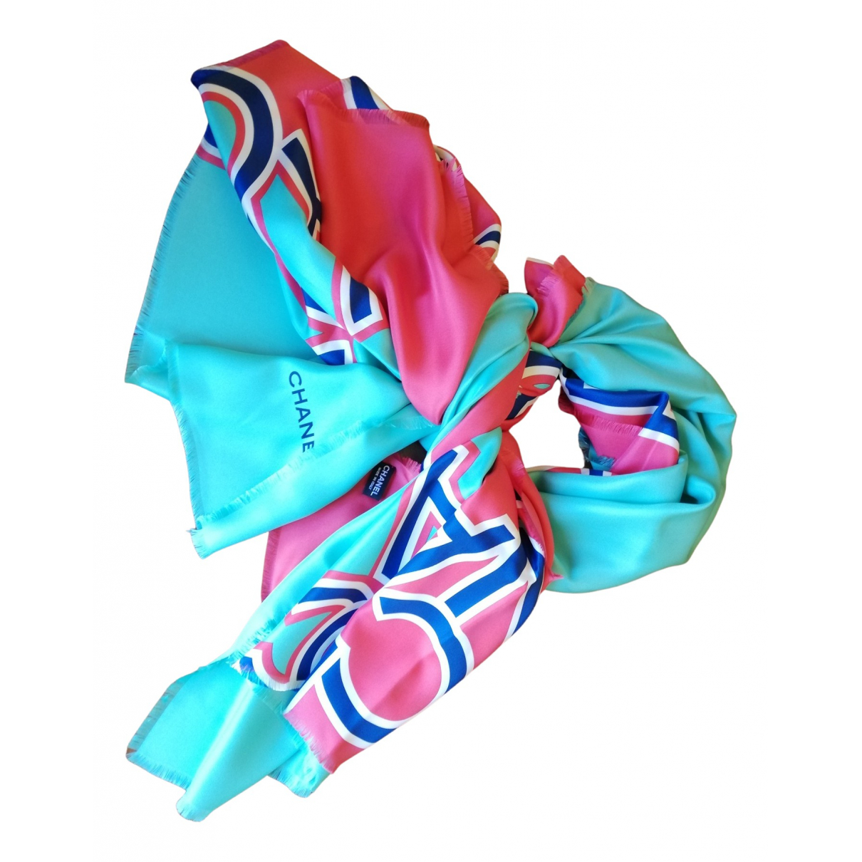 Chanel N Turquoise Silk scarf for Women N