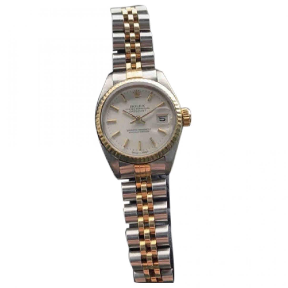 Rolex - Montre Lady DateJust 26mm pour femme en or et acier - dore