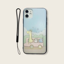 Animal Cartoon Graphic iPhone Case With Lanyard