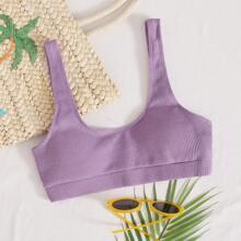 Geripptes Bikini Top mit U-Kragen