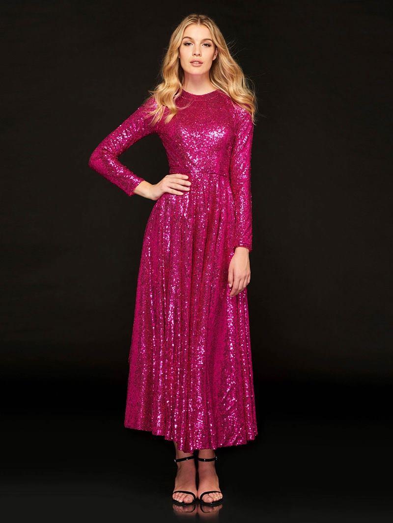 Ericdress A Line Long Sleeve Sequin Reflective Prom Dress