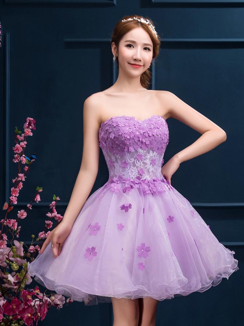 Ericdress Sweetheart Appliques Beading Short Homecoming Dress