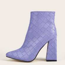 Point Toe Braided Chunky Boots