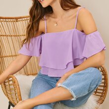 Cold Shoulder Bell Sleeve Layered Crop Top