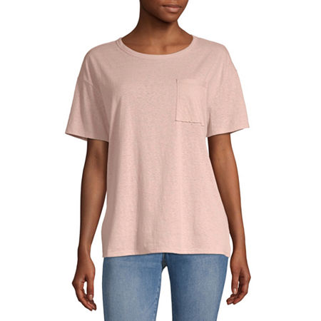 Arizona Juniors-Womens Round Neck Short Sleeve T-Shirt, X-small , Pink
