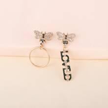Rhinestone Bee & Letter Decor Drop Earrings