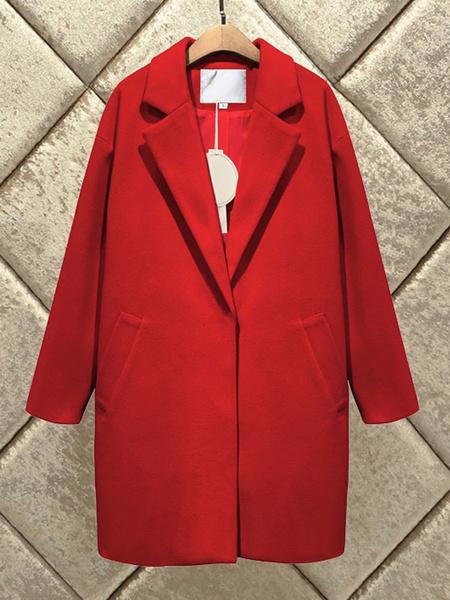 Milanoo abrigo mujer rojo con manga larga de cuello vuelto de poliester Color liso Moda Mujer con bolsillos estilo moderno Otoño Invierno Chaquetas