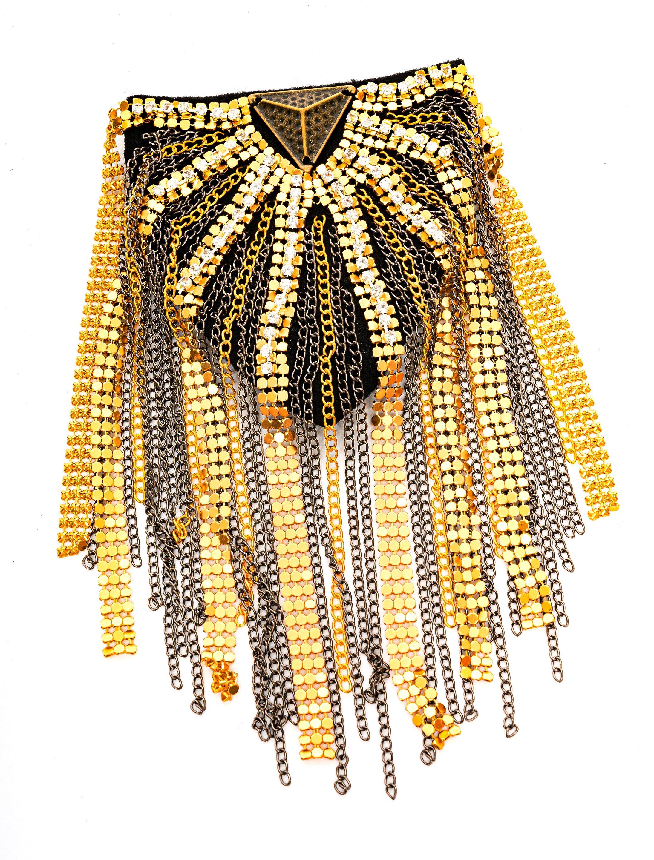 Kostuemzubehor Schulterklappe mit Kristall gold/silber