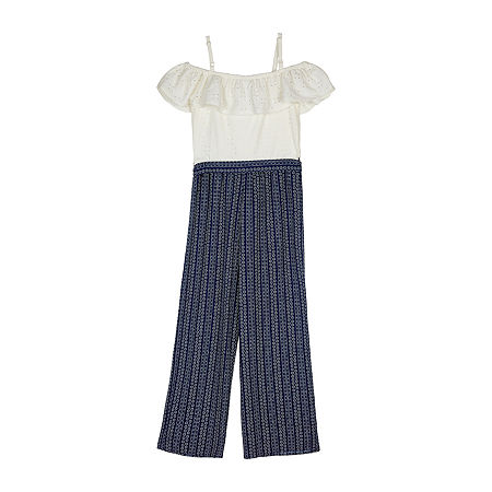 by&by girl Big Girls Sleeveless Jumpsuit, X-large , Blue