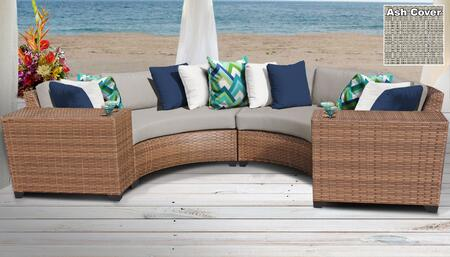 Laguna Collection LAGUNA-04c-ASH 4-Piece Wicker Patio Set with 2 Cup Tables and 2 Curved Armless Chairs - Wheat and Ash