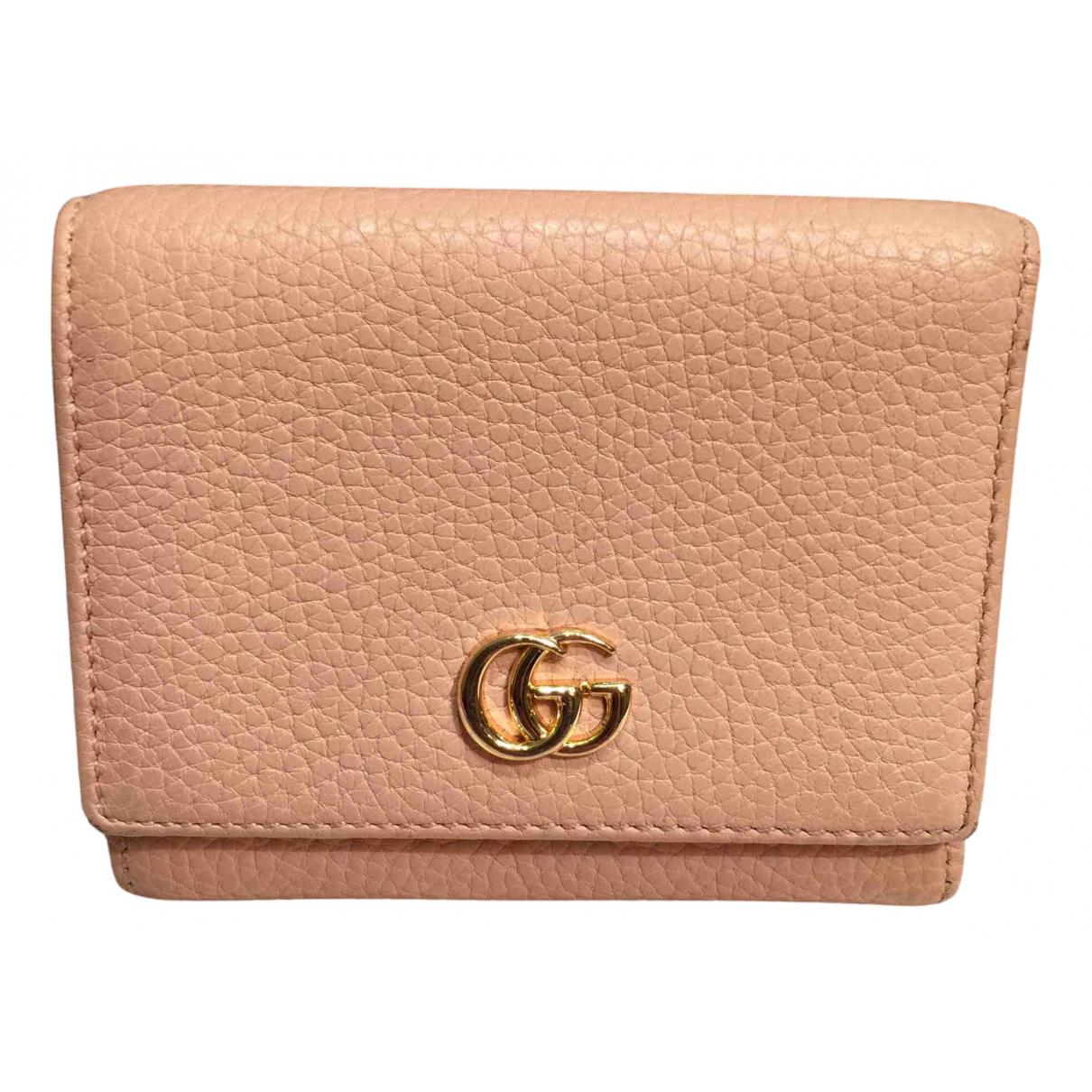 Gucci - Portefeuille Marmont pour femme en cuir - rose