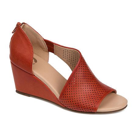 Journee Collection Womens Aretha Pumps Wedge Heel, 9 Medium, Orange