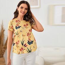 Maternity Top mit Libelle & Blumen Muster und Schosschen
