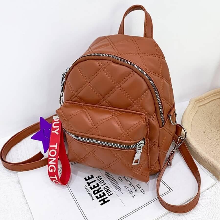 LW Lovely Stylish Zipper Design Brown Backpack