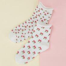 2 pares calcetines con patron de flor