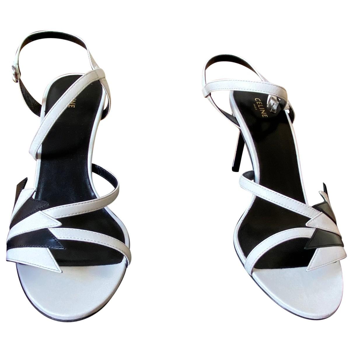 Celine \N White Leather Heels for Women 38 EU