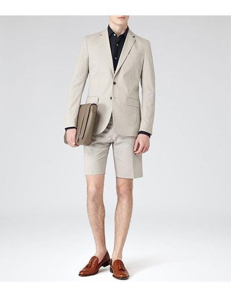 Shorts Set Pants Summer Suit Beige