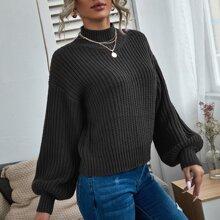 Strick einfarbiger Pullover mit Stehkragen