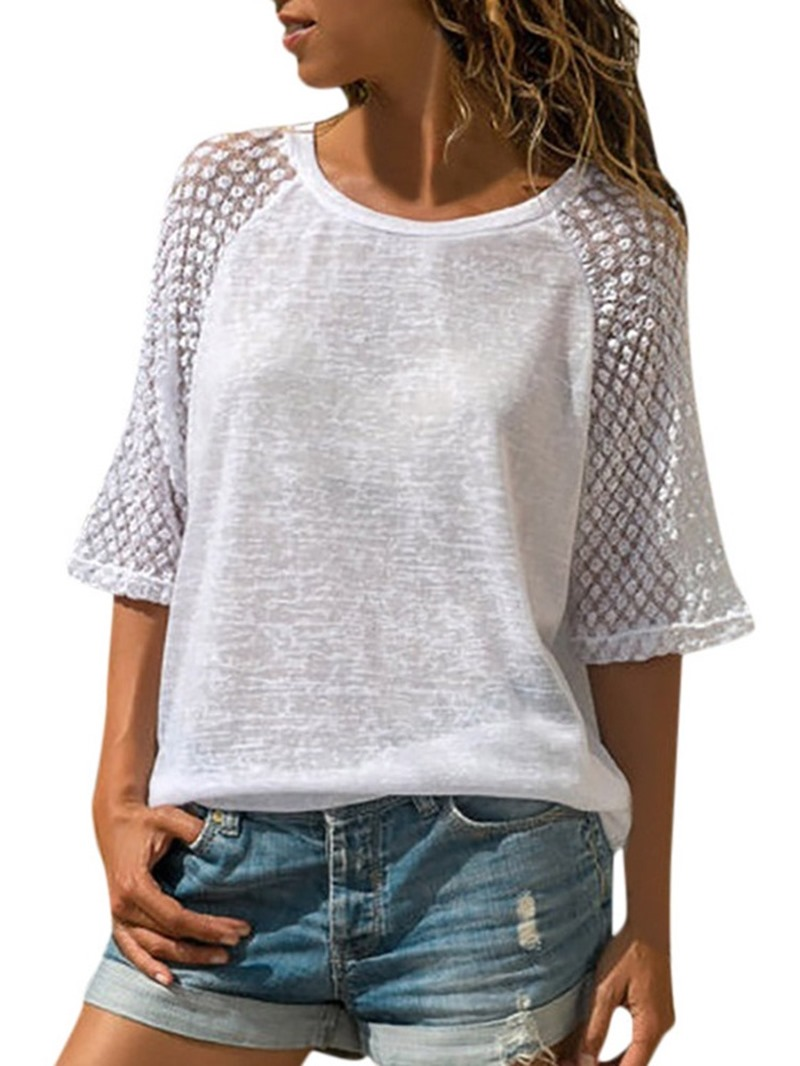 Ericdress Round Neck See-Through Half Sleeve T-Shirt