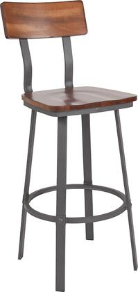 XU-DG-60582B-GG Flint Series Rustic Walnut Restaurant Barstool with Wood Seat & Back and Gray Powder Coat