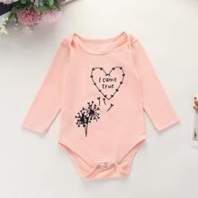 Baby Girl Dandelion And Slogan Graphic Bodysuit