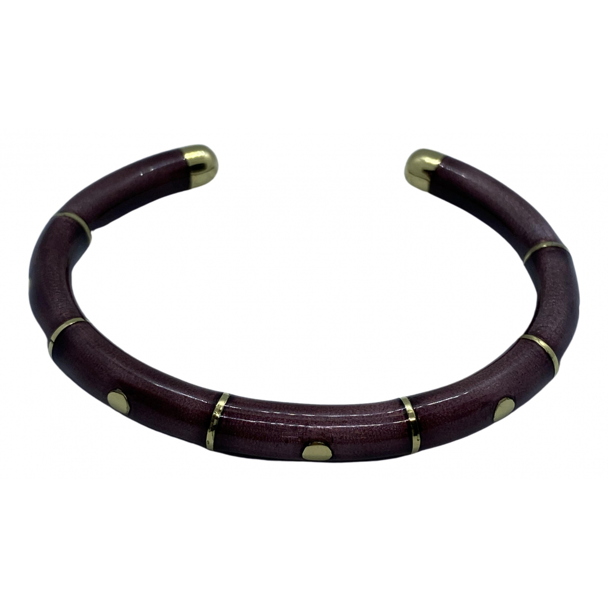 Non Signe / Unsigned Jonc Armband in  Bordeauxrot Gelbgold