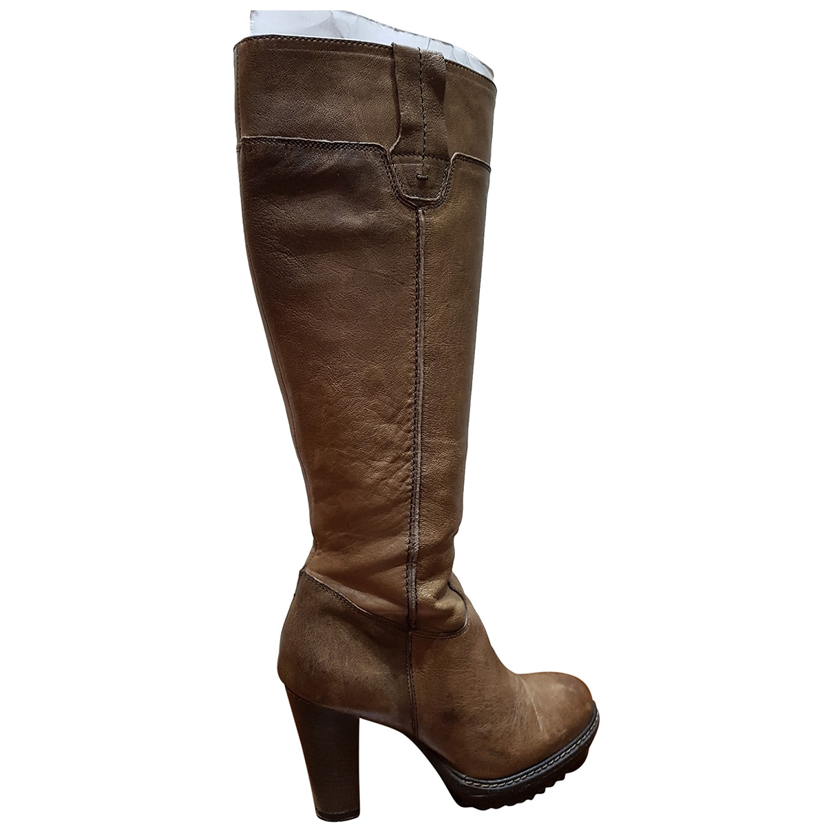 Non Signé / Unsigned \N Camel Leather Boots for Women 36 EU