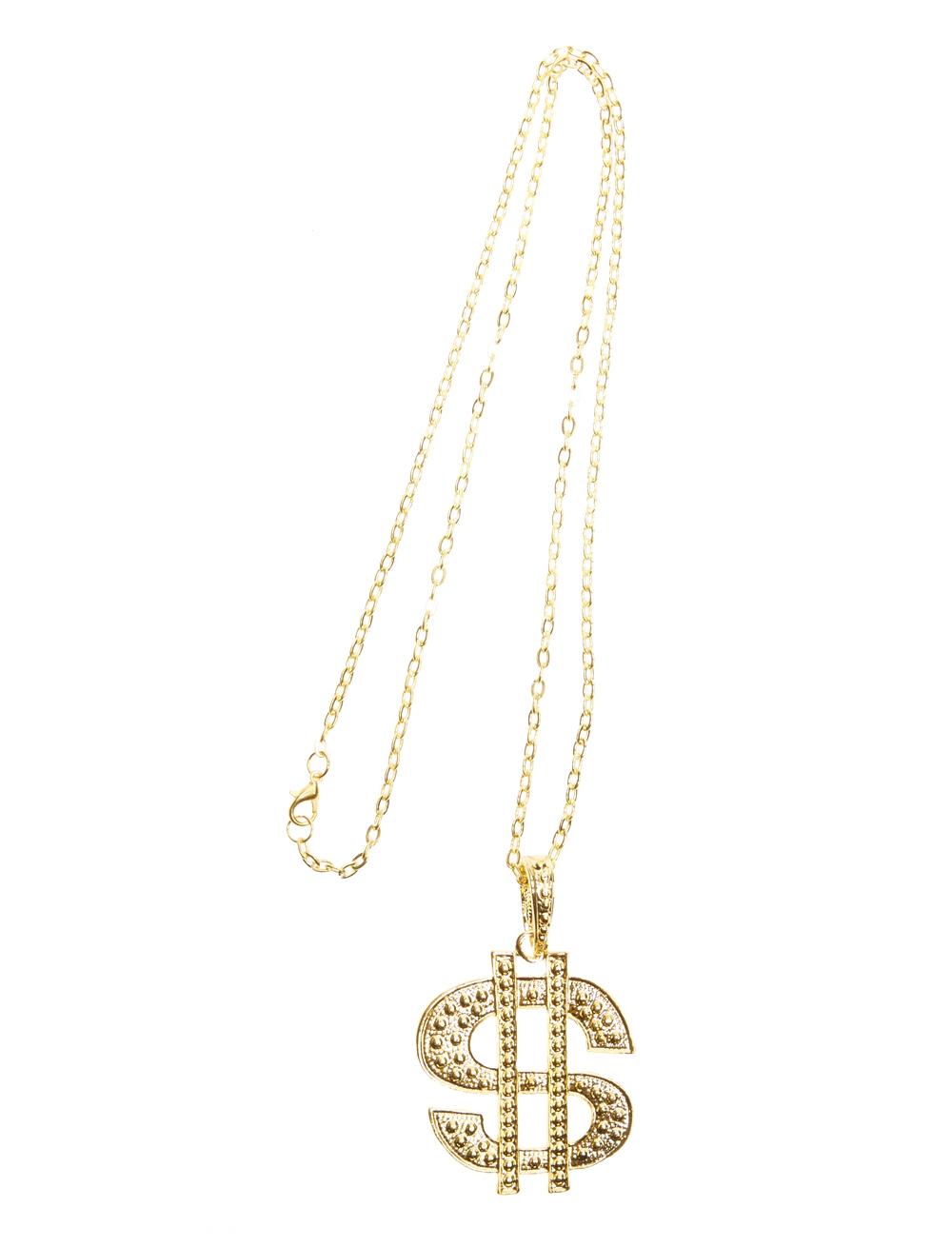 Kostuemzubehor Halskette Dollar-Zeichen gold 4,7x5,2cm