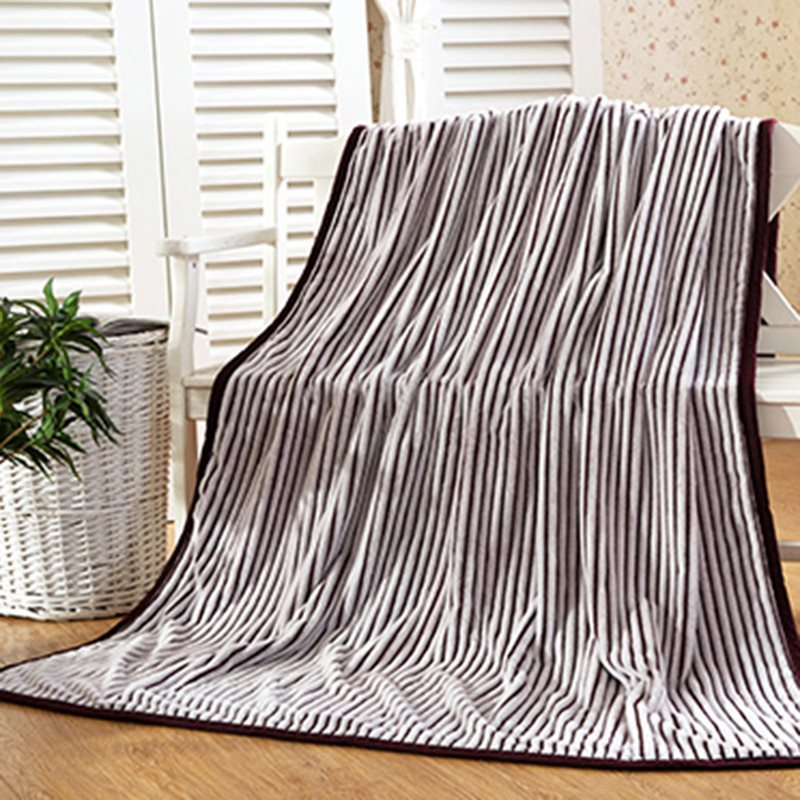 Dense Stripe Design Flannel Bed Blanket for Adult
