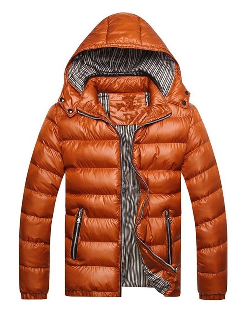Ericdress Color Block Standard Hooded European Zipper Mens Down Jacket