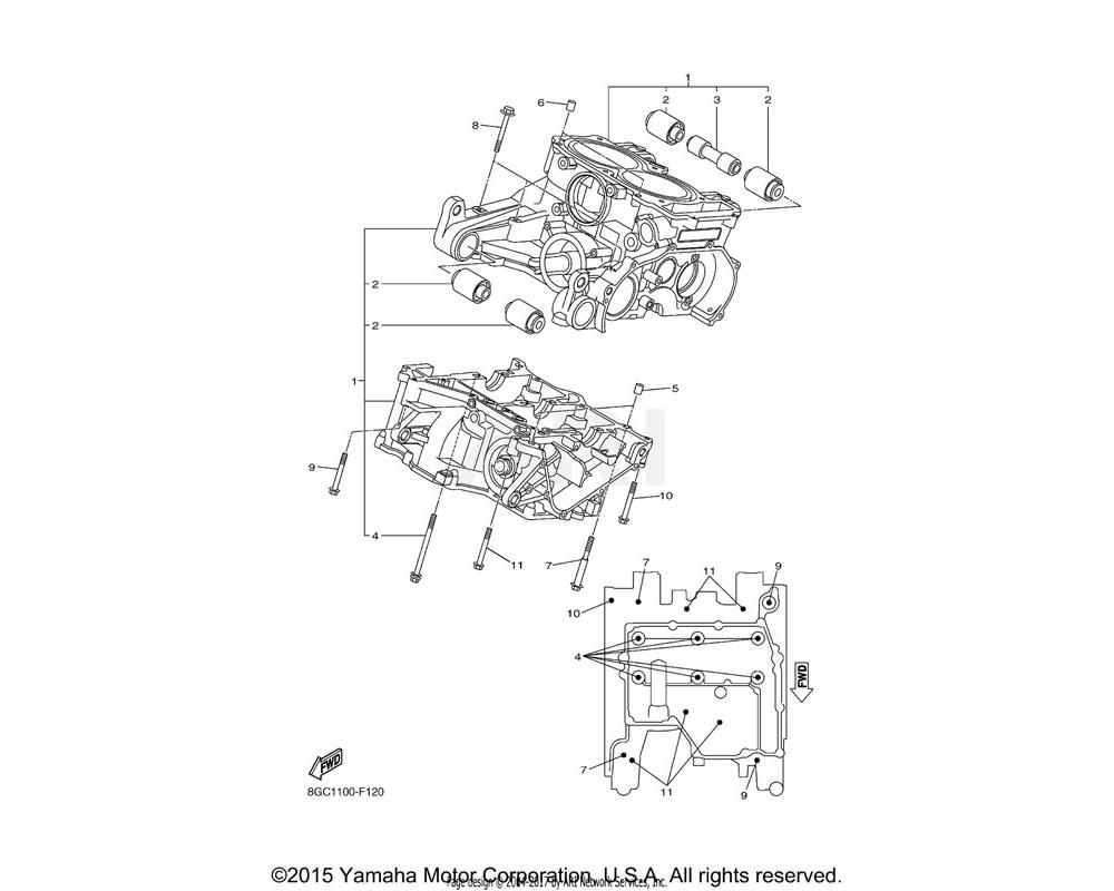 Yamaha OEM 8GC-15100-09-00 CRANKCASE ASSY