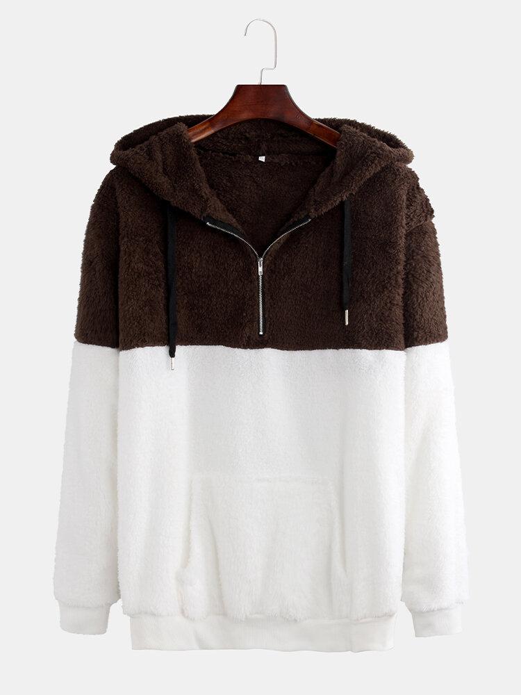 Mens Casual Contrast Color Patchwork Fleece Drawstring Half Zipper Hoodies