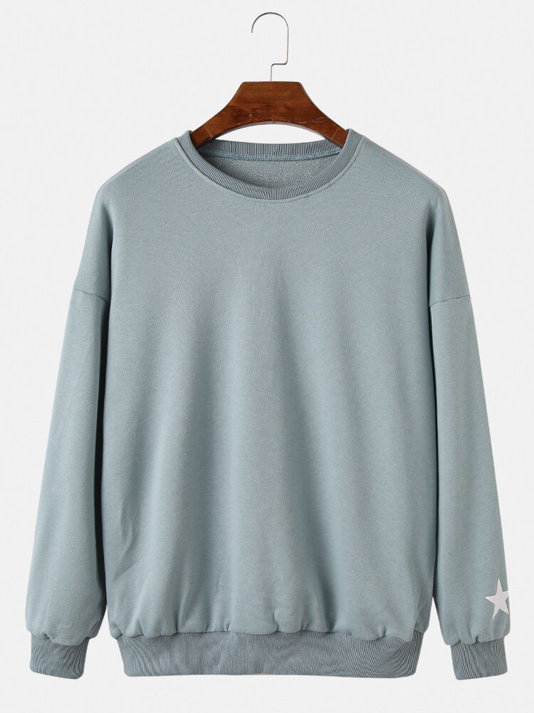 Mens Cotton Star Print Crew Neck Loose Plain Casual Sweatshirts
