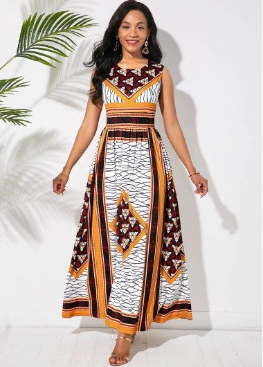 Cocktail Party Dress Sleeveless Tribal Print Round Neck Maxi Dress - M