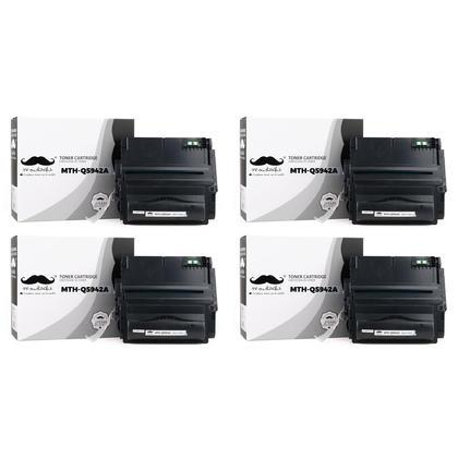 Compatible HP 42A Q5942A cartouche de toner noire - Moustache - 4/paquet