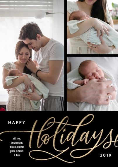 Holiday Photo Cards Flat Glossy Photo Paper Cards with Envelopes, 5x7, Card & Stationery -Holiday Gold Script Memories by Tumbalina