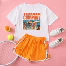 T-Shirt mit Komik Muster & Delphin Shorts