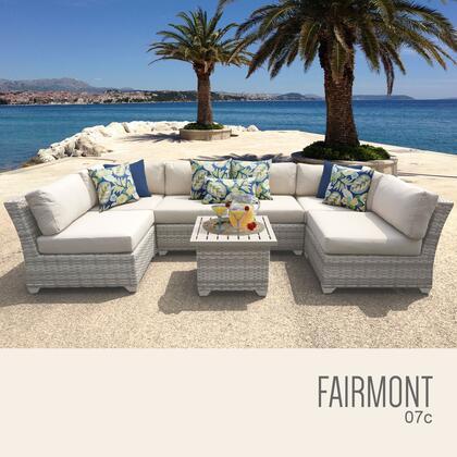 FAIRMONT-07c Fairmont 7 Piece Outdoor Wicker Patio Furniture Set 07c with 1 Cover in