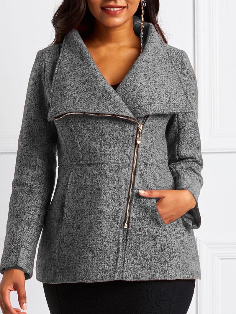 Ericdress Regular Slim Zipper Mid-Length Overcoat
