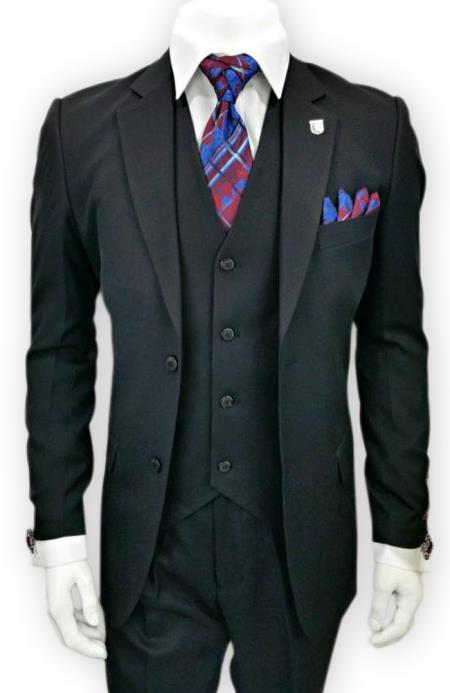Alberto Nardoni Single Breasted 3 Piece Black 2Button Notch Lapel suit