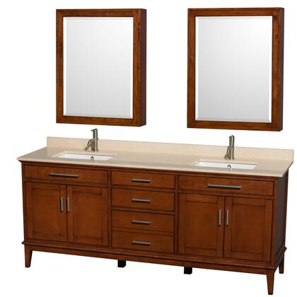 WCV161680DCLIVUNSMED 80 in. Double Bathroom Vanity in Light Chestnut  Ivory Marble Countertop  Undermount Square Sinks  and Medicine