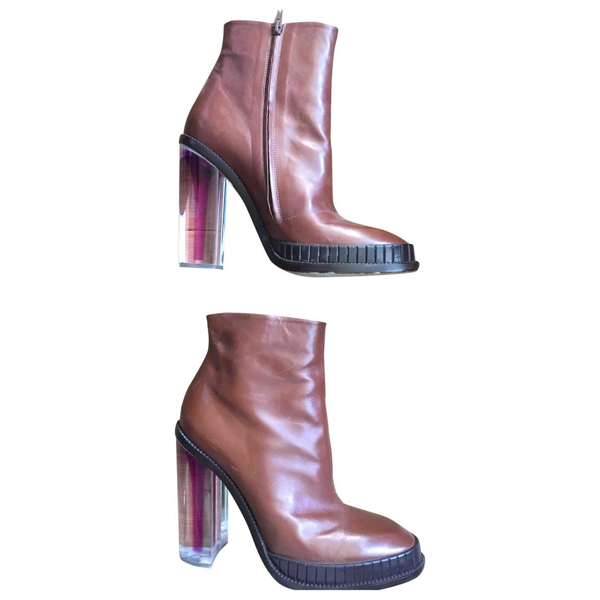 Maison Martin Margiela \N Brown Leather Ankle boots for Women 40 EU