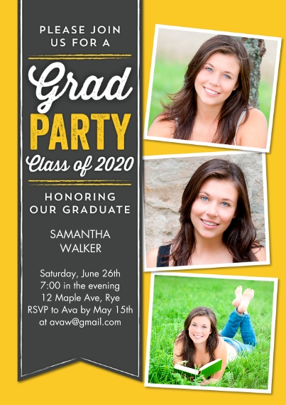 2020 Graduation Invitations 5x7 Cards, Premium Cardstock 120lb with Scalloped Corners, Card & Stationery -Graduation Party Ribbon 2020 by Tumbalina