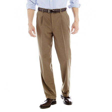 Stafford Travel Sharkskin Pleated Dress Pants - Classic, 36 29, Brown