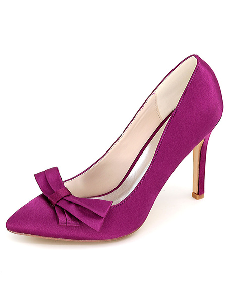 Milanoo Blue Pointed Toe Basic Pumps Satin Wedding Shoes with Bow