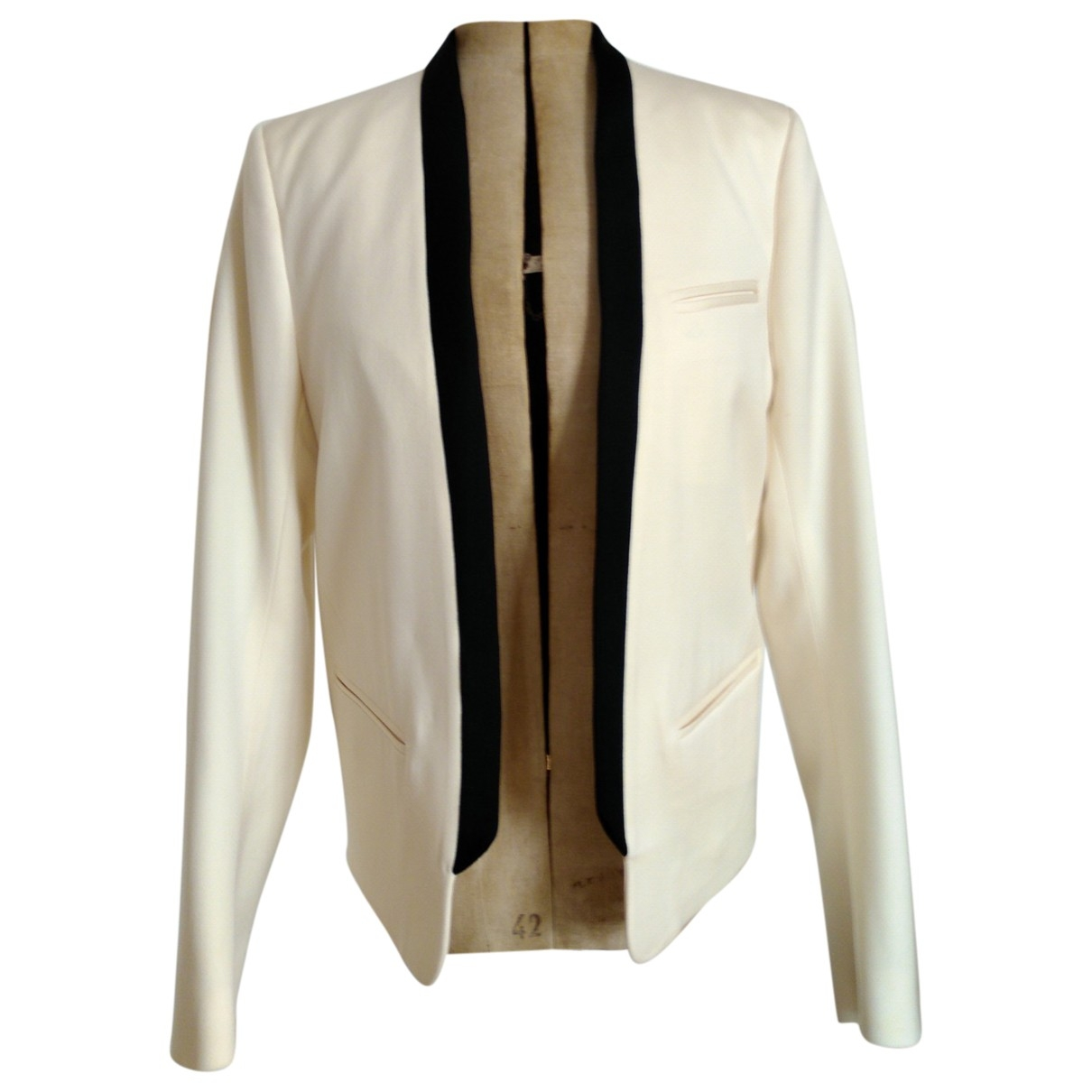 Balmain \N Ecru Wool jacket  for Men 50 IT