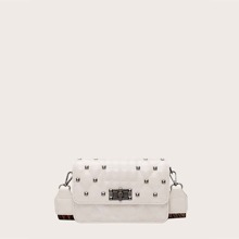 Studded Decor Quilted Crossbody Bag
