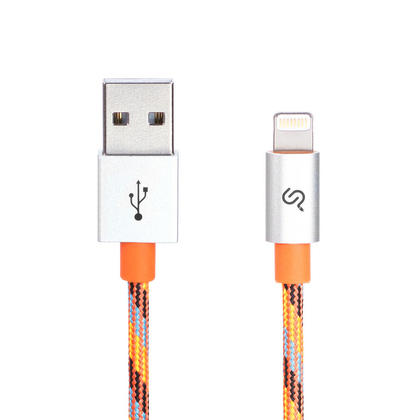 2M Nylon Braided Lightning Cable Apple MFi Certified For iPhone iPad- 6FT, Orange - PrimeCables® - 1/Pack