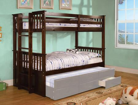 University II Collection CM-BK458T-EXP-BED Twin Size Bunk Bed with Side Access Ladder  13 PC Slats Top and Bottom  Solid Wood and Wood Veneers