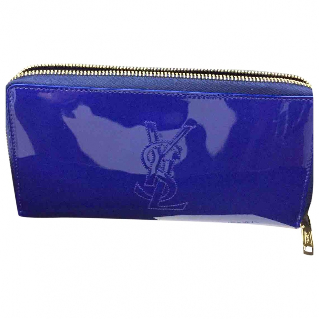 Saint Laurent - Portefeuille   pour femme en cuir verni - bleu